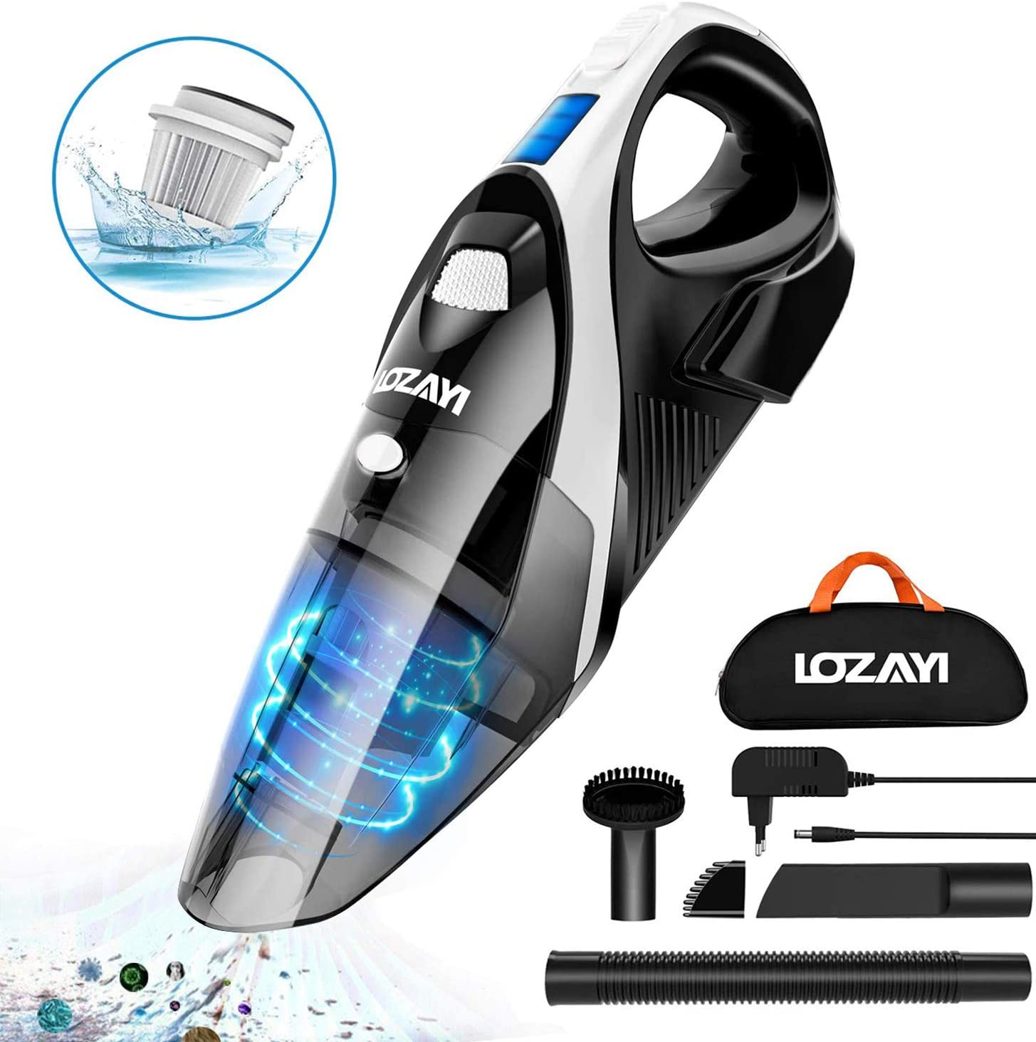 Handheld Vacuum, LOZAYI 7KPA Cordless Hand Vacuum Rechargeable with Li-ion Battery, LED Light 100W Stronger Cyclonic Suction Lightweight Wet/Dry Vacuum Cleaner for Home Pet Hair Car Cleaning