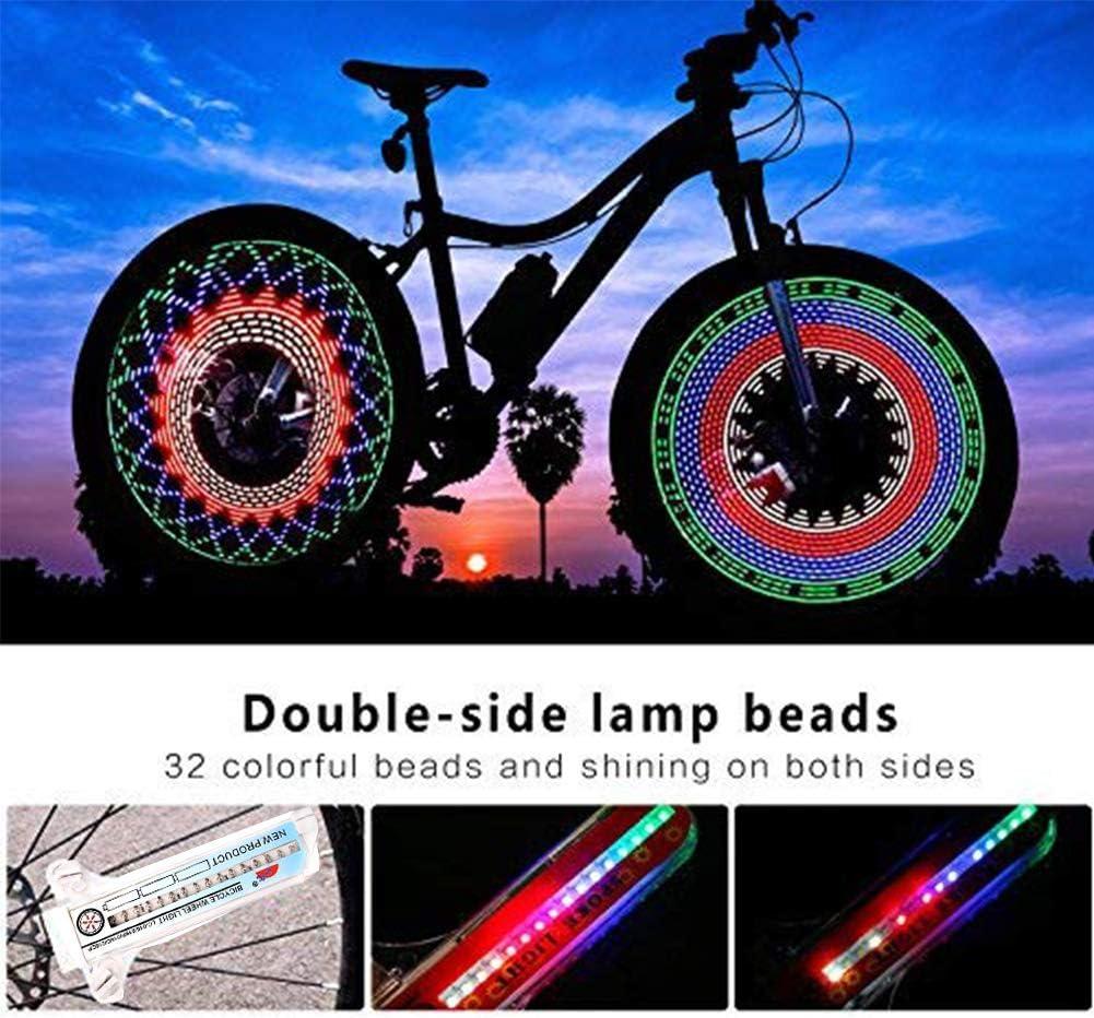 Convertibles en 30 Styles adapt/ées /à Tous Les pneus de v/élo de 20 Pouces et Plus WENTS Rayons de V/élo Lampe de v/élo//lumi/ère de Rayon /étanche avec 16 lumi/ères Double Face 7 Couleurs