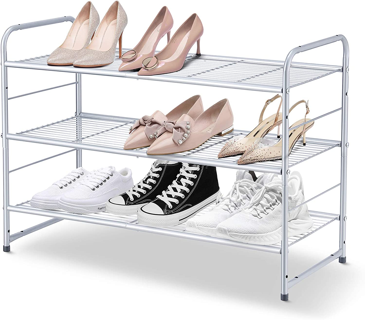Simple Trending 3-Tier Stackable Shoe Rack, Expandable & Adjustable Shoe Shelf Storage Organizer, Wire Grid, Silver