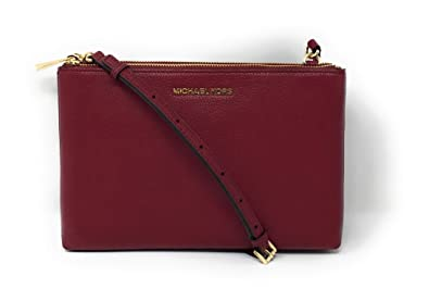 a8098fd74406 Image Unavailable. Image not available for. Color  Michael Kors Jet Set  Travel Double Zip Gusset Signature Crossbody Brown Mulberry