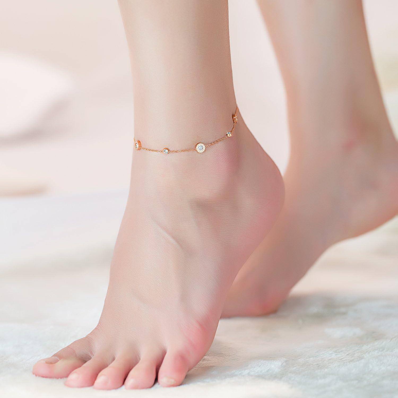 Roman Numerals Anklet Zircon Ankle Bracelet Fashion Jewelry by Richapex