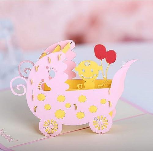 Tarjeta emergente 3D hecha a mano baby shower nacimiento carro ...