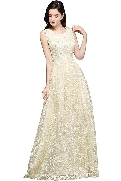Babyonlinedress Vestido largo de novia para boda vestido amarillo de estilo elegante y A line vestido