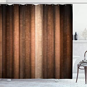 AMBZEK Brown Earth Stripe Shower Curtain Vintage Rust Orange Copper and Pale Peach Tan Modern Simple ClassicArtwork Cloth Fabric Bathroom Decor Set with 12 Pack Hooks 60x71inch,Brown