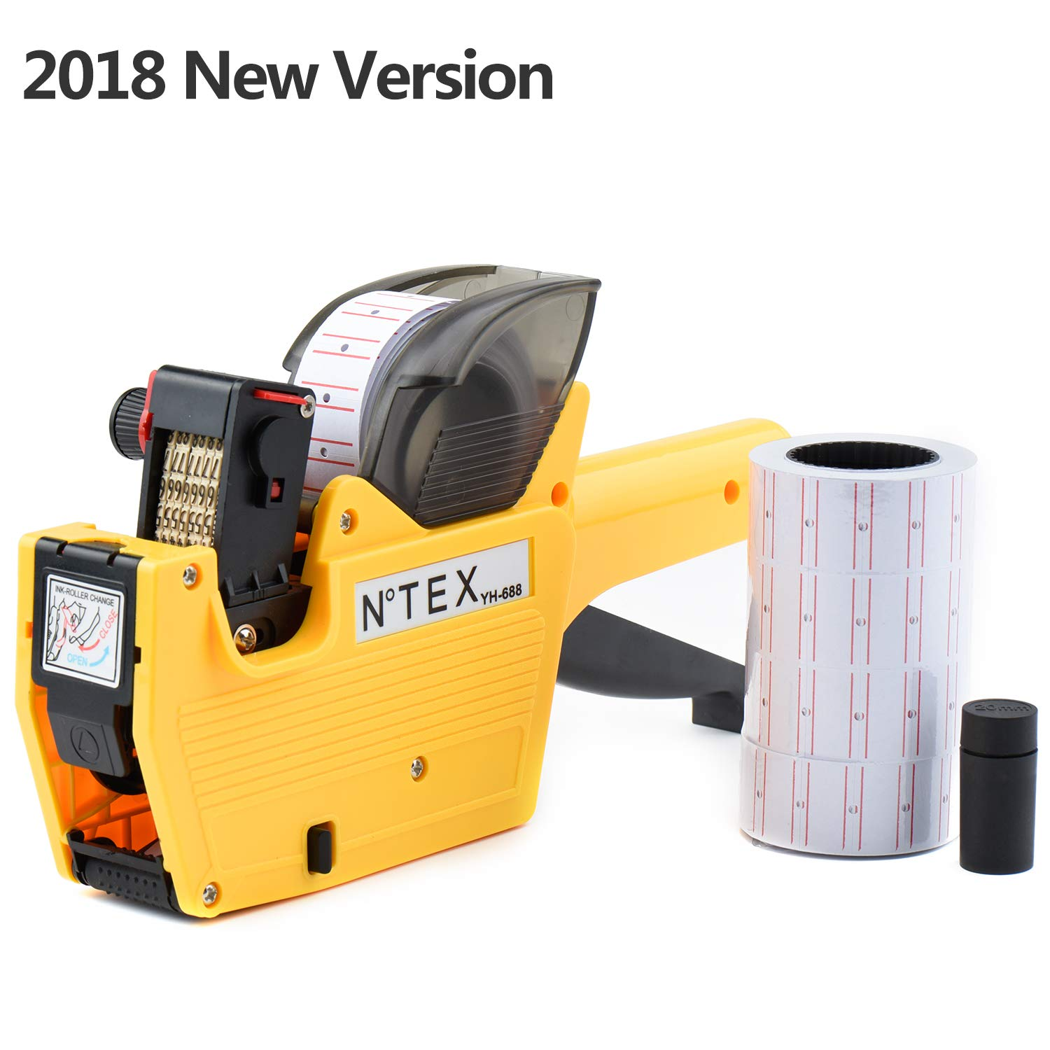 Crossmo YH-688 8 Digits Price Tag Gun Labeler Labeller Included 2500 Labels and Ink Refill for Office, Retail Shop, Grocery Store,Super Market(Orange)
