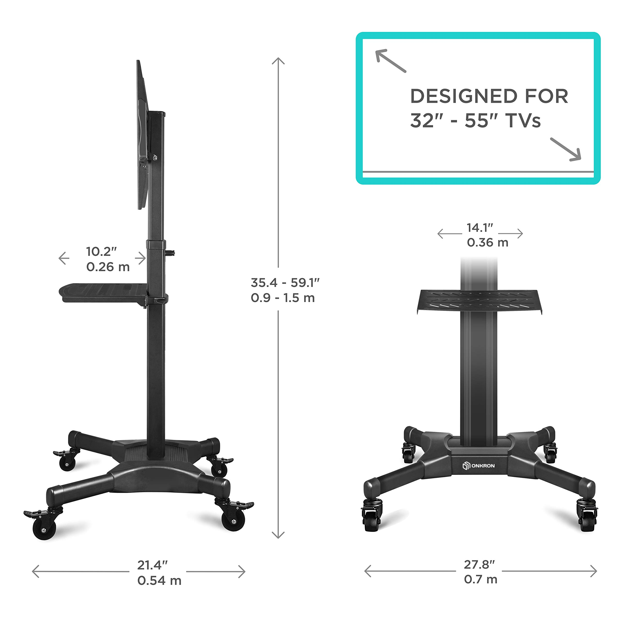ONKRON Mobile TV Stand with Mount Rolling TV Cart for 32'' - 55'' LCD LED Flat Screen TV with Wheels Shelves Height Adjustable TV Trolley (TS2551) by ONKRON (Image #4)