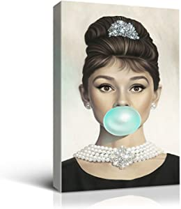 Denozer - Van Eyck Audrey Hepburn Tiffany Blue Bubble Gum Canvas Wall Art for Bedroom Decor Bar Decoration Living Home Decorations - 16x24 inches