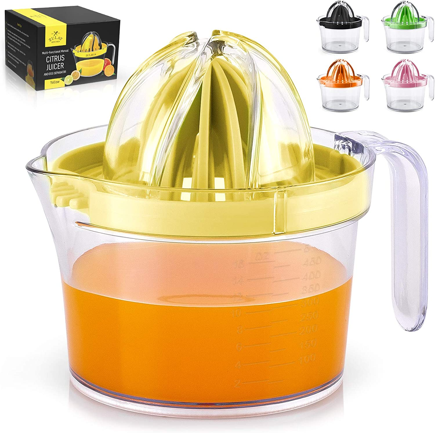Zulay (17oz Capacity) Citrus Juicer Hand Press - Multifunctional Hand Juicer With Egg Separator, Large Reamer Adaptor, & Built-in Handle - Manual Juicer For Oranges, Lemons, Limes & More (Yellow)