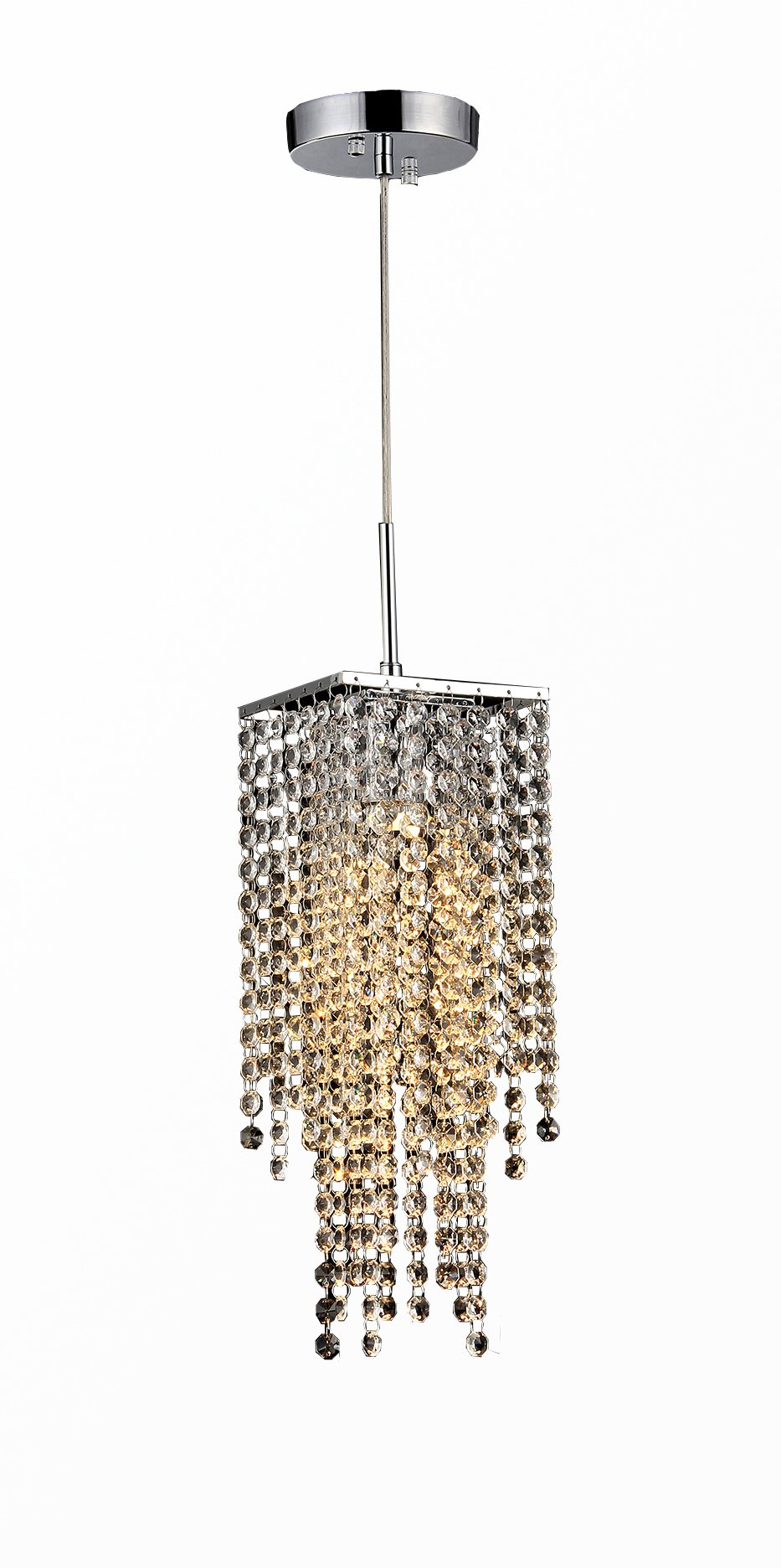 Whse of Tiffany RL8032 Sheea 1-Light Crystal Falls Chrome Chandelier