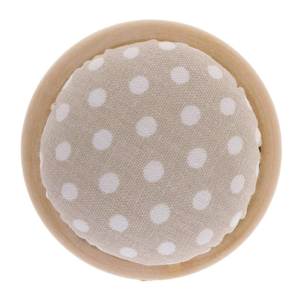 Polka Dot Pattern Gray PIN Cushion Cotton Fabric Sewing Tool Wood Bottom
