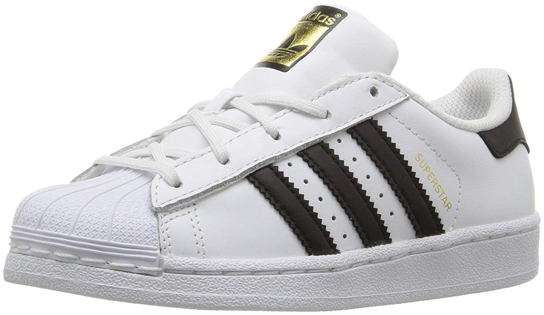 adidas Originals Superstars Running Shoe, Black/White, 6 Medium US Big Kid