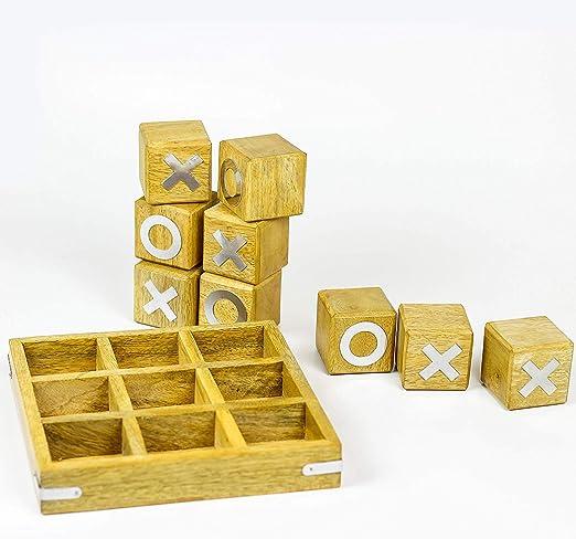 Juego de mesa de madera de América para viajes, juego de Tic Tac Toe para divertido, XOXO, 10,16 cm, portátil, color marrón oscuro: Amazon.es: Hogar