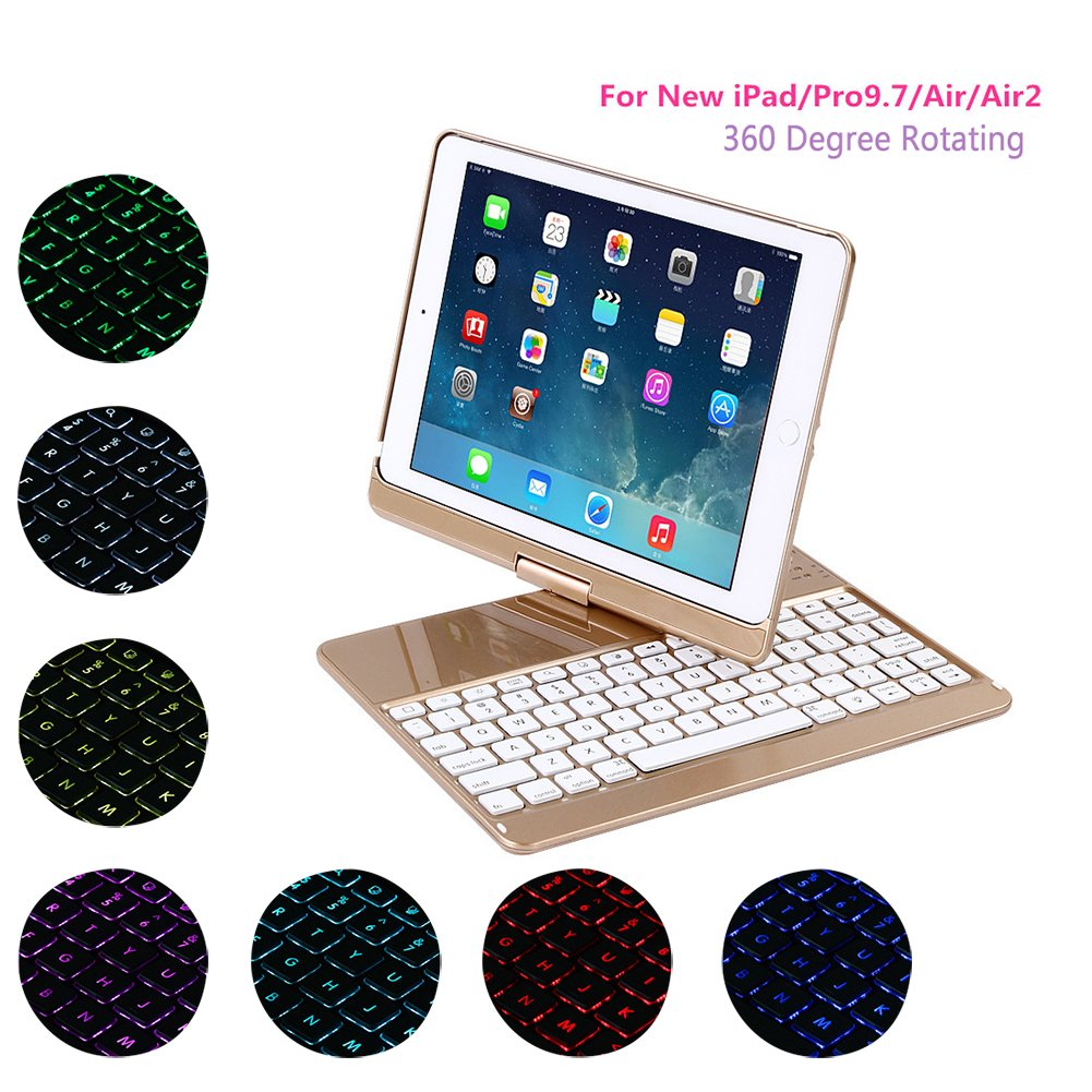 Ginamart ABS Keyboard Case for New iPad 2017 / iPad Pro 9.7, 360 Degree Rotating 7 Colors LED Backlit Wireless Bluetooth Keyboard Case Cover for New iPad/Pro9.7/Air/Air 2 (Gold)