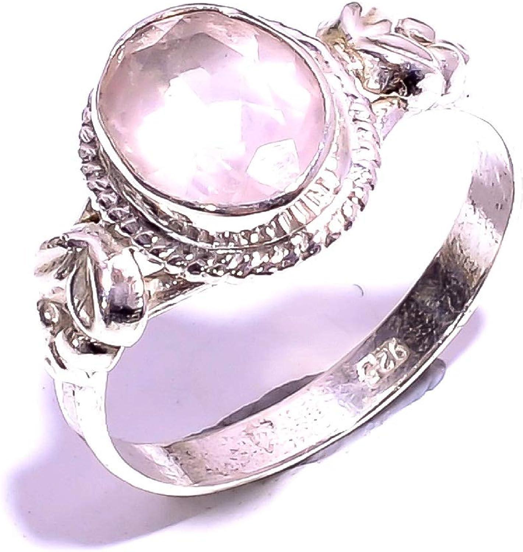 Mughal gems & jewellery ZR-909 - Anillo de Plata de Ley 925 con Piedras Preciosas de Cuarzo Rosa Natural para Mujeres y niñas, Talla 7 (EE. UU.)
