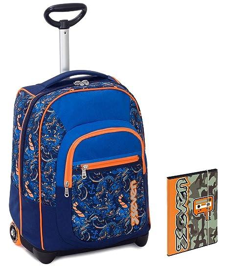 22d5eb4d76 Trolley Bambino Seven + Cartellina A4 - Blu Arancione - Spallacci a  Scomparsa! Zaino 35