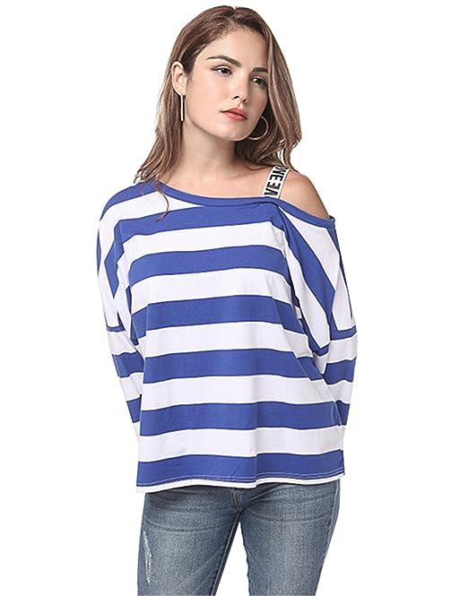 Haroty Mujer Moda Rayas Hombro Frío Blusas Flojo Ocio Vestir T Shirt Sencillos Bonitos Elegante Camisetas