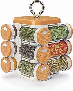 Multipurpose Revolving Spice Rack 12 Piece Condiment Set,Plastic,12 Bottles ,Valentine Day Gifts