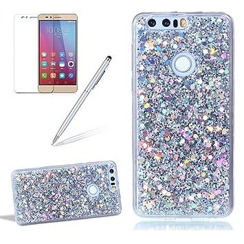 Carcasa para Huawei Honor 8 Brillante Brillo Funda - Girlyard Funda Silicona Suave y Fina Gel TPU Goma Patrón Piel Flexible Transparente Cubierta de ...