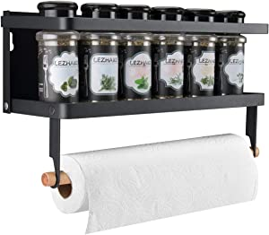 Refrigerator Magnetic Spice Rack Paper Towel Holder Spice Shelf Storage Organizer for Kitchen, Easy to Install the Side of Refrigerator Microwave oven (Black, With hook)