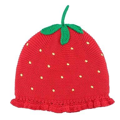 15f0a2d4314 Bonnet Tricot Fraise Enfant Bébé Fille Enfant Cartoon Chapeau Automne Hiver  Rouge Chaud Casquette Laine XL