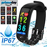IP67 Waterproof Fitness Tracker HR Smart Watch for Men Women with Heart Rate Blood Pressure Monitor Calorie Counter GPS Tracker Pedometer Smart Bracelet for iOS/Android