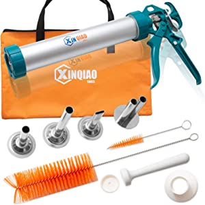 XINQIAO Jerky Gun Kit, 2 Pound Capacity Beef Jerky Maker, Aluminum Barrel with Stainless Steel Nozzles & Handbag