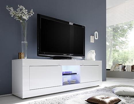 Mobile Tv Bianco Lucido.Mobile Portatv Moderno In Legno Bianco Lucido
