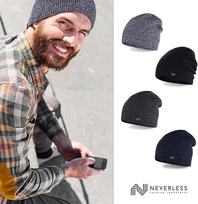 Winter-M/ütze Neverless/® Coole Strickm/ütze f/ür Herren