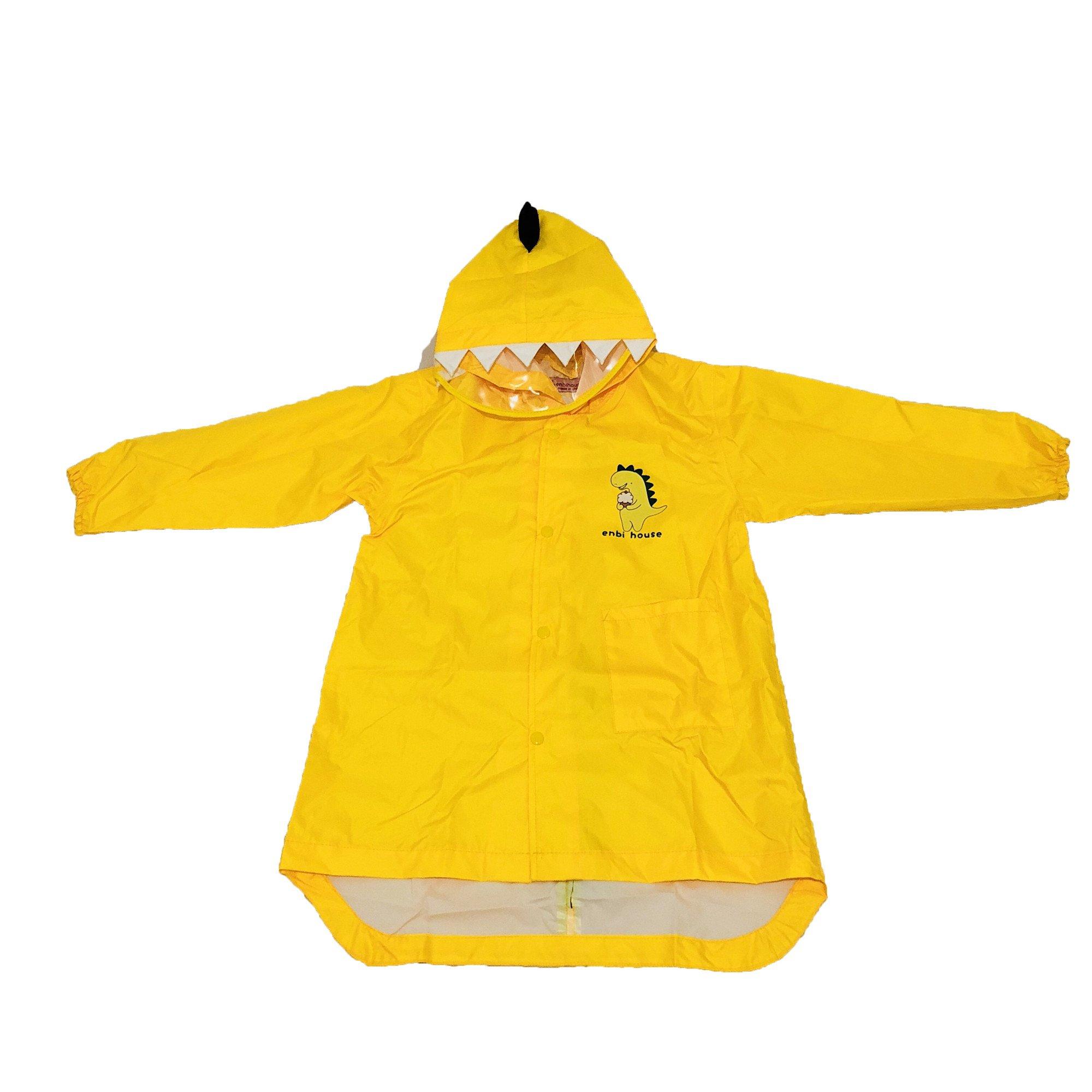 SEALOVESFLOWER Yellow Dinosaur Raincoat For Kids Rain Jacket Lightweight Rainwear For Boy and Girl (L)