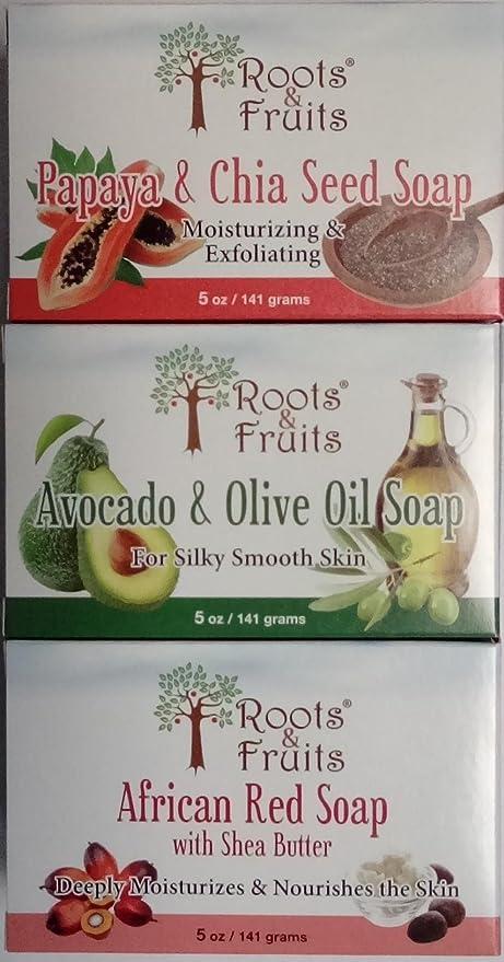 3 piece Gift Pack Jabón raíces y frutos, todos los tipos de ...
