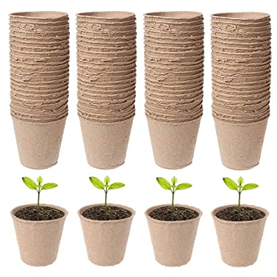 TXIN 100 Pieces Round Peat Pots Seedlings Herb Seed Starter Tray Garden Plant Germination Trays Nursery Pot Planting Tools, 2.36 in Small Peat Pot Trays Cups Starter Pots for Planting: Garden & Outdoor