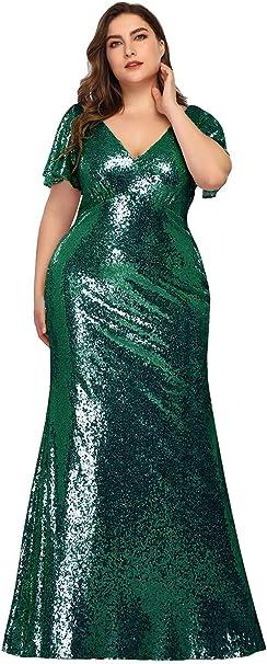 Ever-Pretty Damen Abendkleid Meerjungfrau Partykleid V Ausschnitt Kurze /Ärmel Pailletten lang 00838