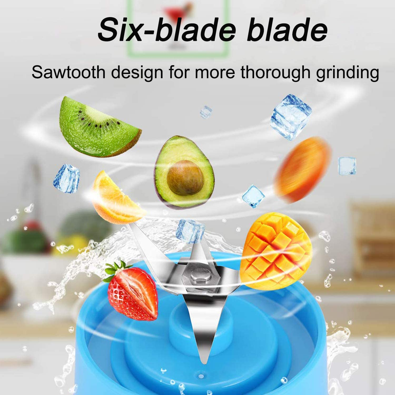 Portable Electric Automatic Juicer Blue Personal Size Blender Shakes and Smoothies Juicer Cup-Six Blades in 3D,Handheld Fruit Machine