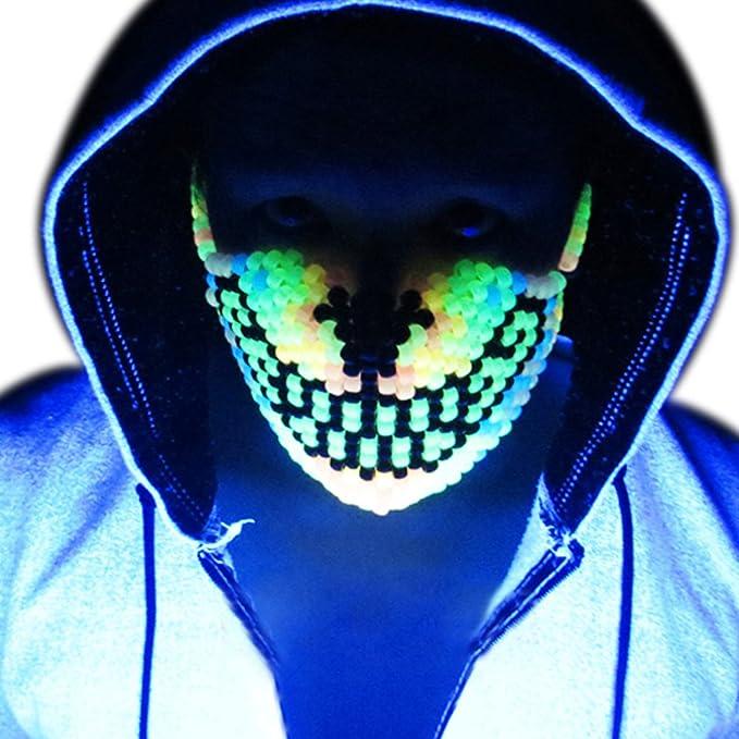 Mascara Kandi de Lobo Arcoiris que Brilla en la Oscuridad por Kandi Gear, mascara de