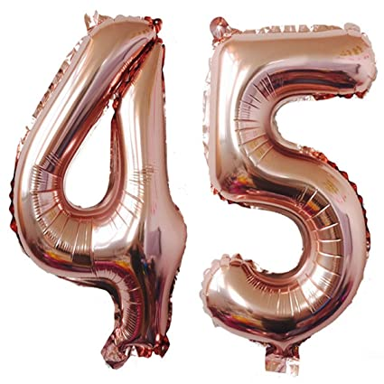 40inch Rose Gold Foil 45 Helium Jumbo Digital Number Balloons 45th Birthday Decoration For Women