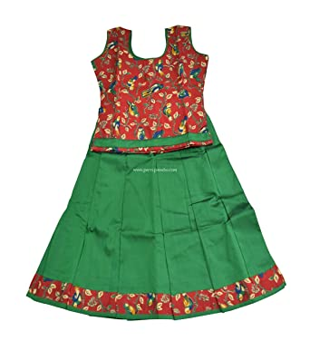 d3f22092bc84f4 Pattu Pavadai Cotton Pavadai Set Red and Green (Pattu Pavada and Blouse)  for Baby