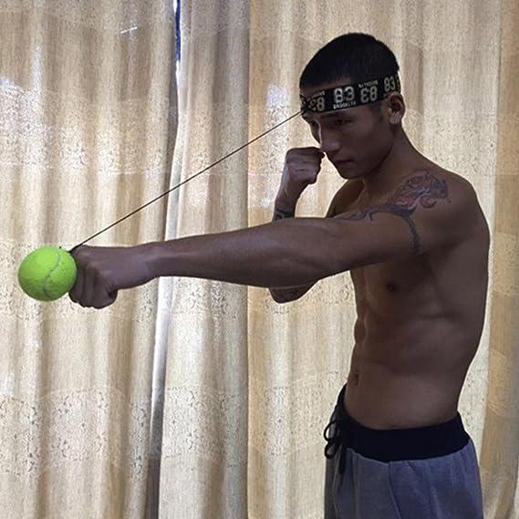 a7479d3ed7 WalshK Bola de la lucha con la venda principal para el entrenamiento de la velocidad  del reflejo Boxeo del boxeo Ejercicio del sacador (Amarillo)  ...