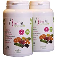 Slim Fit Nature - DIMAGRANTE 100% NATURALE - 120 CAPSULE - drenante, snellente, depurativo, brucia grassi, per aiutarci a perdere peso. Con curcuma e piperina, 7 benefici, genuino, puro, alta qualità