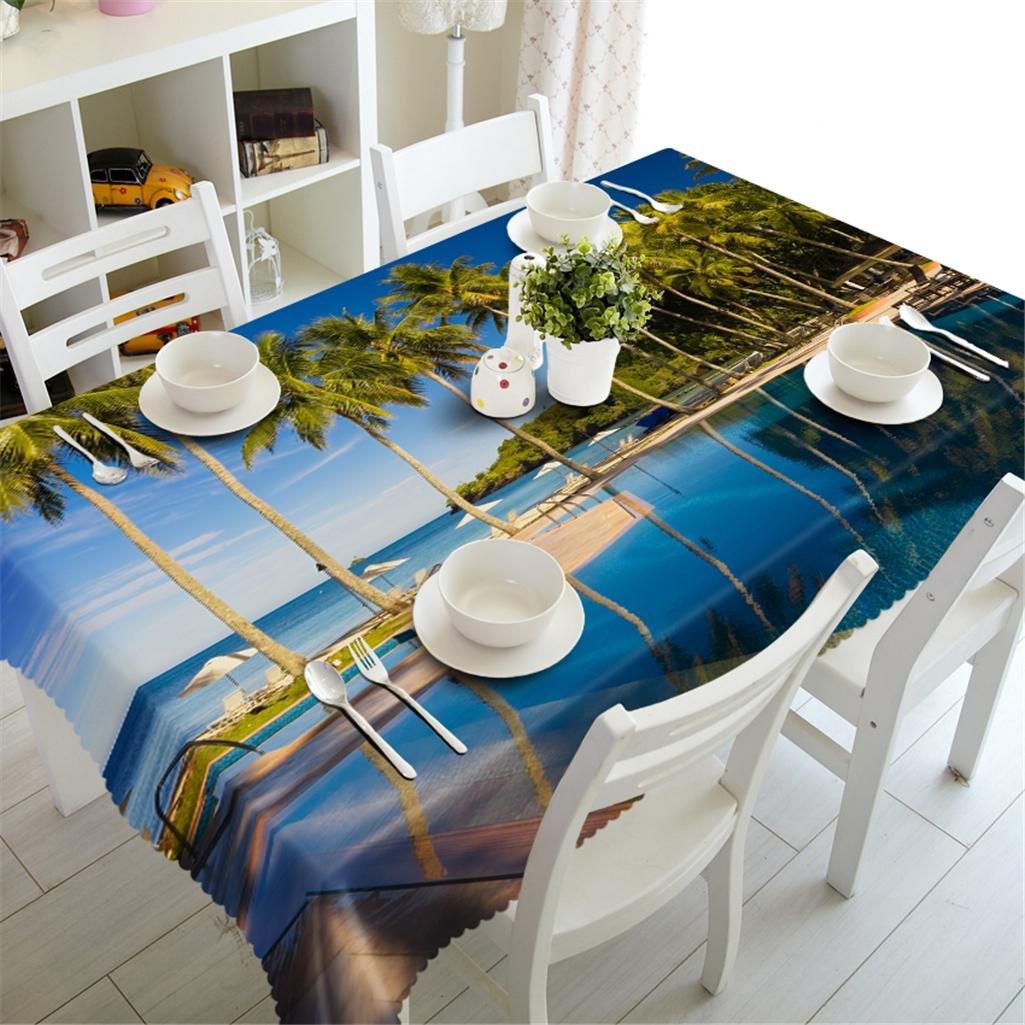1 n Polyester Tischdecke 3D Seaside natürliche Landschaft Staubdicht Tasteless Verdickte Küche Dekoration Tischdecke , 1 , n