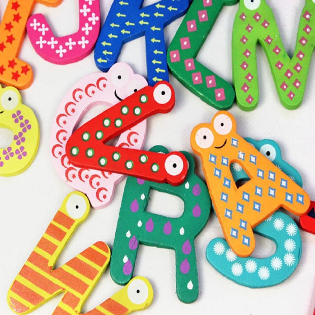 Juguete del bebé, RETUROM Nuevo colorido 26 letras de madera de imán de imán de dibujos animados para el bebé de juguete educativo para niños