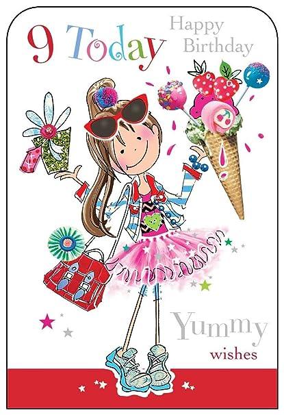 Jonny javelin girl age 9 happy birthday card amazon electronics bookmarktalkfo Images