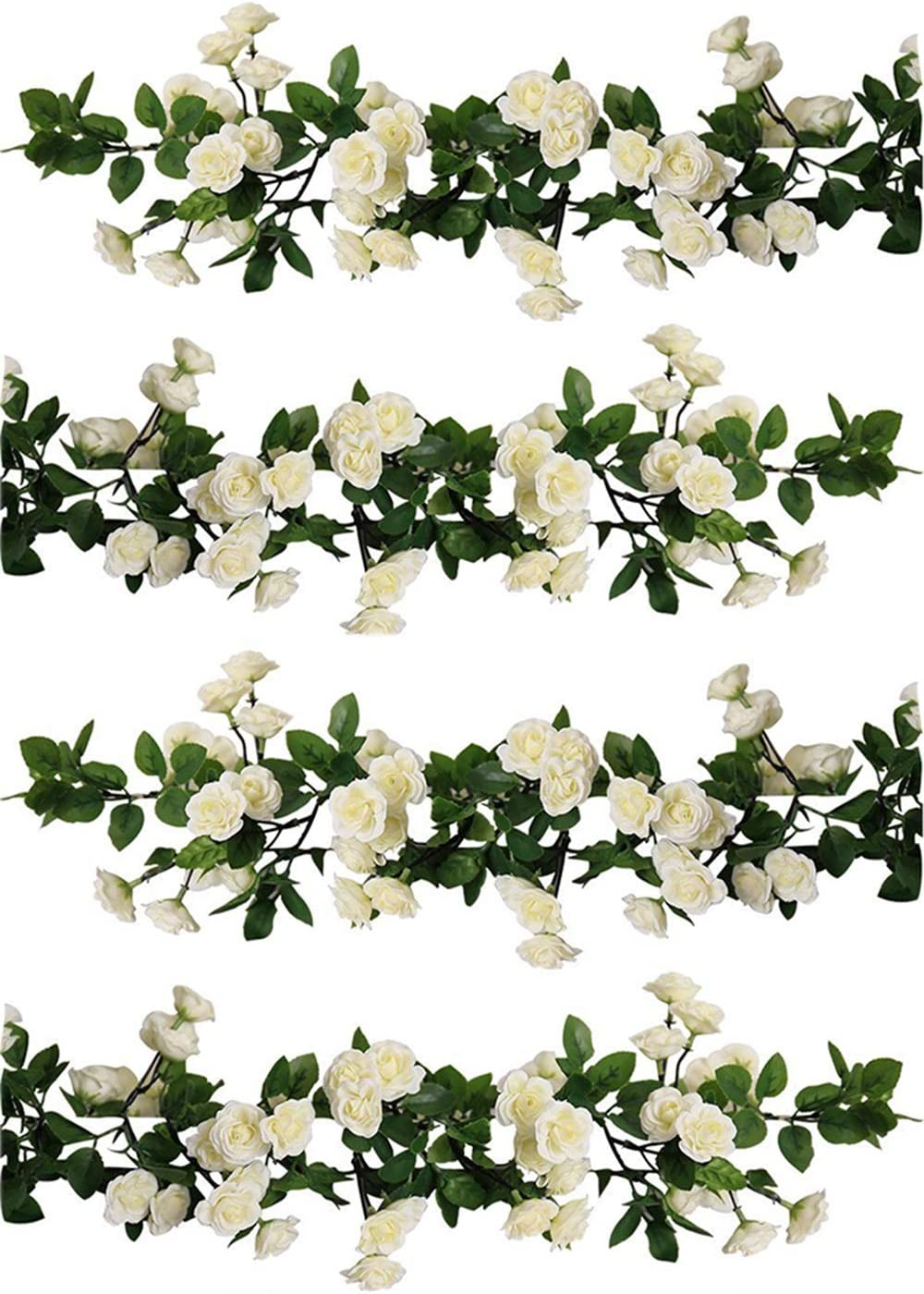 UArtlines 2 Pack 5.84Ft Each Strand 69 small rose flowers WHITE Artificial Flower Hanging Rose Flower Ivy Garland Artificial Rose Garland Home Party Garden