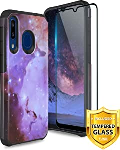 TJS Phone Case for Samsung Galaxy A50/Galaxy A30/Galaxy A20 2019, with [Full Coverage Tempered Glass Screen Protector] Dual Layer Hybrid Shockproof Protection Impact Rugged Armor Cover (Stardust)