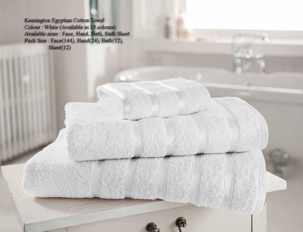Toallas de mano de algodón egipcio (600 g/m2, 100 % satinadas), diseño de rayas, 13 colores disponibles, blanco, Toalla de baño: Amazon.es: Hogar
