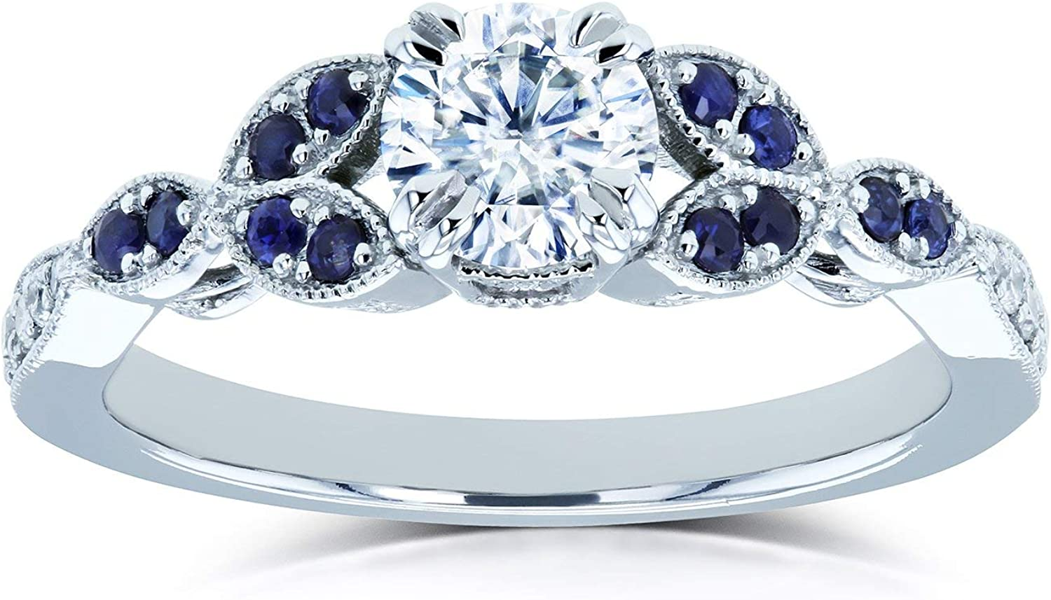 Kobelli Round Moissanite With Blue Sapphire Accents Leafy Engagement Ring 5 8 Ctw 14k White Gold Def Vs Gh I Amazon Com