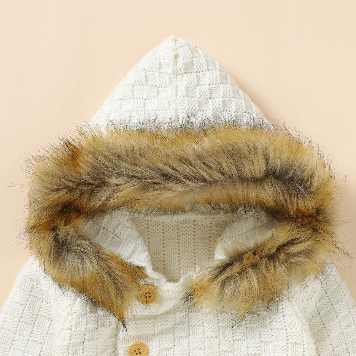 Camidy B/éb/é /à Capuche Petites Oreilles Manteau Tricot/é Tout-Petit Manteau /à Capuche Pull Rose pour 18-24M
