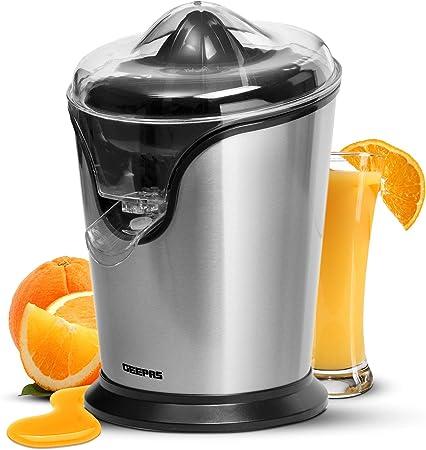 Geepas 100W Citrus Juicer Electric Orange Juicer | Professional Brushed Stainless Steel Fruit Juicer | Squeezes Oranges Lemons Lime Juices | Freshly