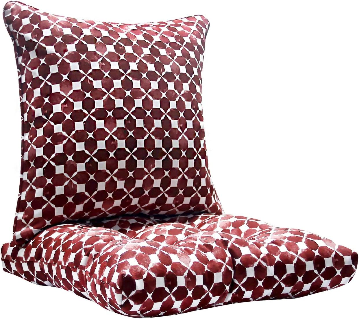FBTS Prime Outdoor Chair Cushion and Outdoor Pillow Red 20x20 Inch Patio Decorative Set for Outdoor Patio Indoor Furniture Garden Home Office