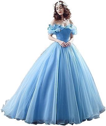 NUOJIA Damen Blau Kurzarm Quincenera Ballkleid Abendkleid ...