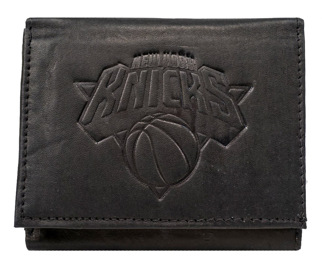 Rico New York NY Knicks NBA Embossed Logo Black Leather Trifold Wallet